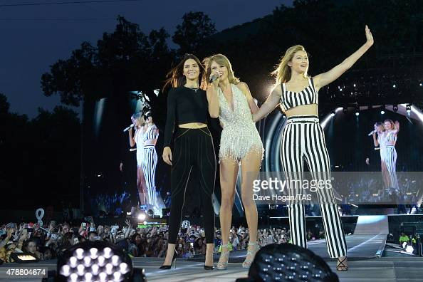 Kendall Jenner Taylor Swift and Gigi Hadid perform The 1989 World Tour onstage during the British Summertime gigs at Hyde Park on June 27 2015 in...