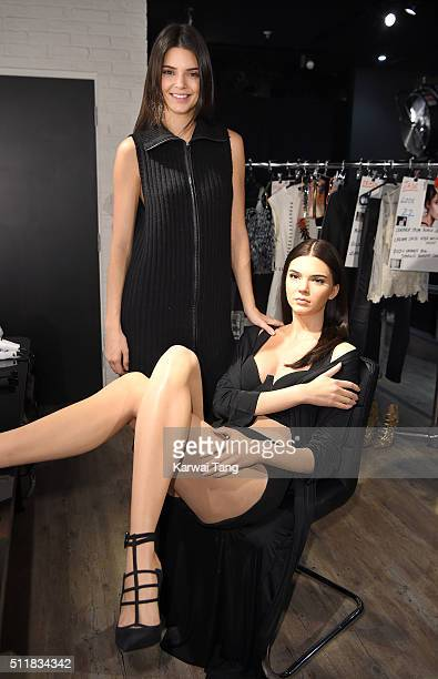 Kendall Jenner visits her new waxwork at the Madame Tussauds London Fashion Week Experience at Madame Tussauds on February 23 2016 in London England