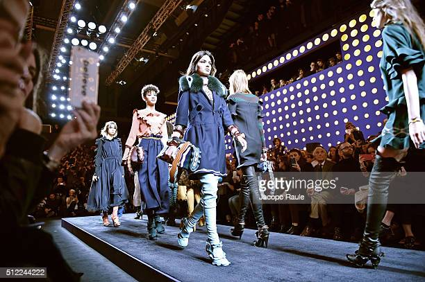 Kendall Jenner walk the runway at the Fendi show during Milan Fashion Week Fall/Winter 2016/17 on February 25 2016 in Milan Italy