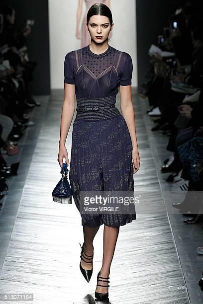 Kendall Jenner walks the runway at the Bottega Veneta fashion show during Milan Fashion Week Fall/Winter 2016/2017 on February 27 2016 in Milan Italy
