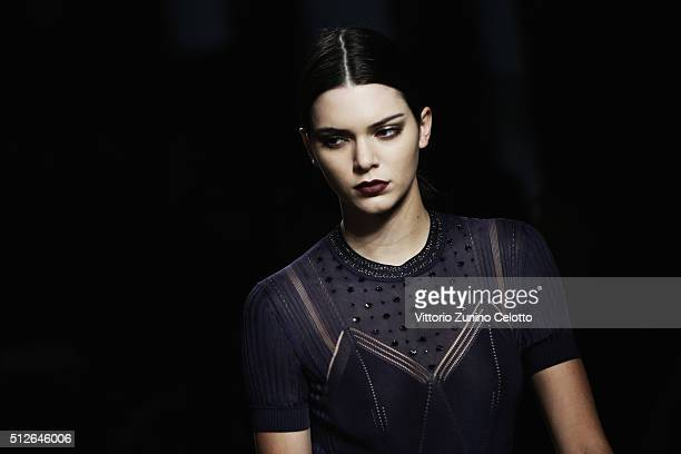 Kendall Jenner walks the runway at the Bottega Veneta show during Milan Fashion Week Fall/Winter 2016/17 on February 27 2016 in Milan Italy