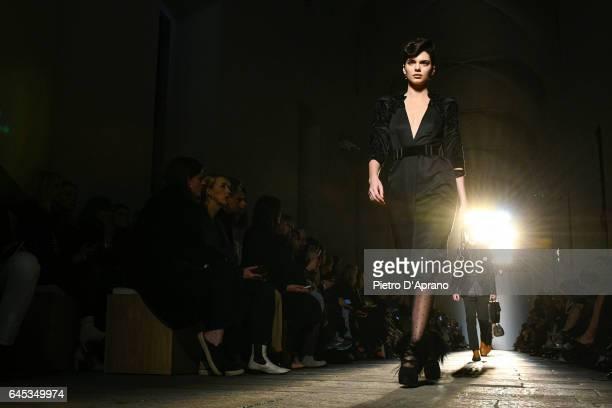 Kendall Jenner walks the runway at the Bottega Veneta show during Milan Fashion Week Fall/Winter 2017/18 on February 25 2017 in Milan Italy