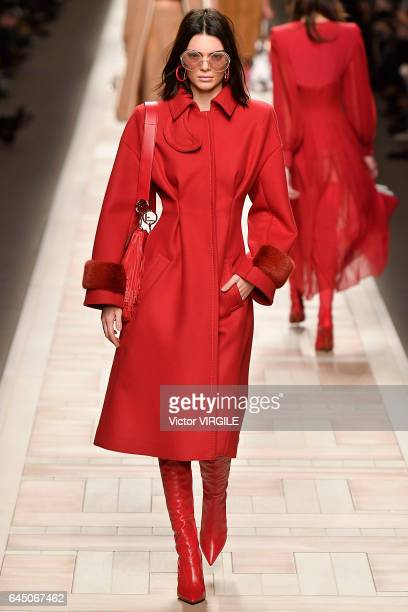 Kendall Jenner walks the runway at the Fendi Ready to Wear fashion show during Milan Fashion Week Fall/Winter 2017/18 on February 23 2017 in Milan...