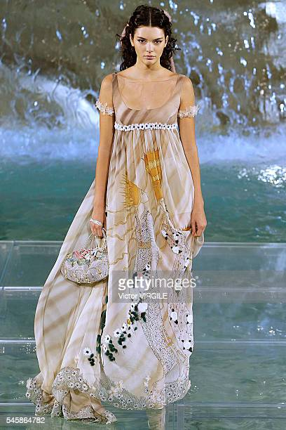 Kendall Jenner walks the runway at the Fendi Roma 90 Years Anniversary fashion show at the Fontana di Trevi on July 7 2016 in Rome Italy