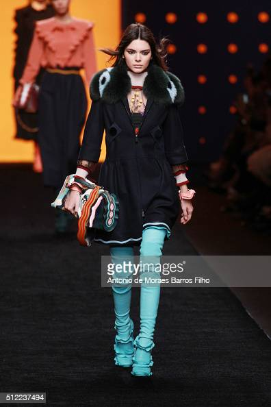 Kendall Jenner walks the runway at the Fendi show during Milan Fashion Week Fall/Winter 2016/17 on February 25 2016 in Milan Italy