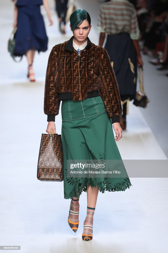 Kendall Jenner walks the runway at the Fendi show during Milan Fashion Week Spring/Summer 2018 on September 21, 2017 in Milan, Italy.