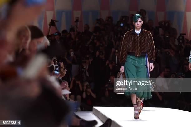 Kendall Jenner walks the runway at the Fendi show during Milan Fashion Week Spring/Summer 2018 on September 21 2017 in Milan Italy