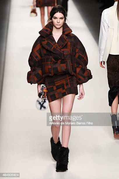 Kendall Jenner walks the runway at the Fendi show during the Milan Fashion Week Autumn/Winter 2015 on February 26 2015 in Milan Italy