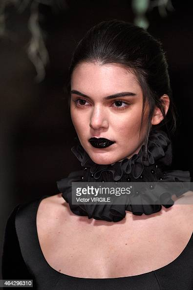 Kendall Jenner walks the runway at the GILES show during London Fashion Week Fall/Winter 2015/16 at Central Saint Martins on February 23 2015 in...