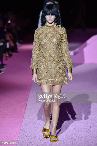 Kendall Jenner walks the runway at the Marc Jacobs fashion show during MercedesBenz Fashion Week Spring 2015 at Park Avenue Armory on September 11...