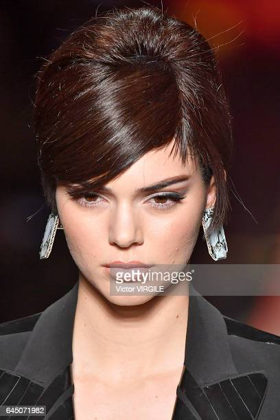 Kendall Jenner walks the runway at the Moschino Ready to Wear fashion show during Milan Fashion Week Fall/Winter 2017/18 on February 23 2017 in Milan...