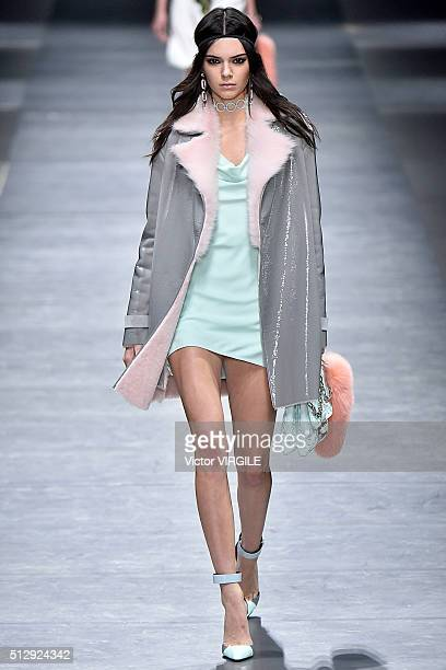 Kendall Jenner walks the runway at the Versace fashion show during Milan Fashion Week Fall/Winter 2016/2017 on February 26 2016 in Milan Italy