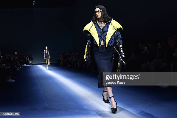 Kendall Jenner walks the runway at the Versace show during Milan Fashion Week Fall/Winter 2017/18 on February 24 2017 in Milan Italy