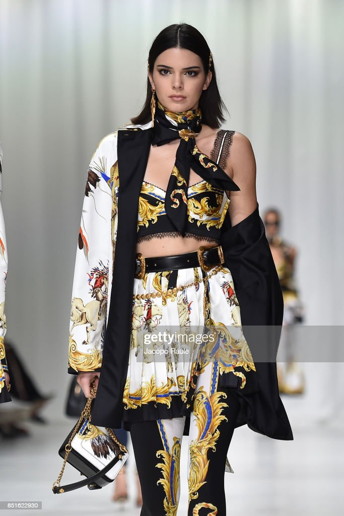 Kendall Jenner walks the runway at the Versace show during Milan Fashion Week Spring/Summer 2018 on September 22, 2017 in Milan, Italy.