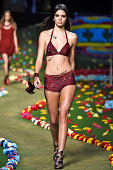 Kendall Jenner walks the runway at Tommy Hilfiger Women's fashion show during MercedesBenz Fashion Week Spring 2015 at Park Avenue Armory on...