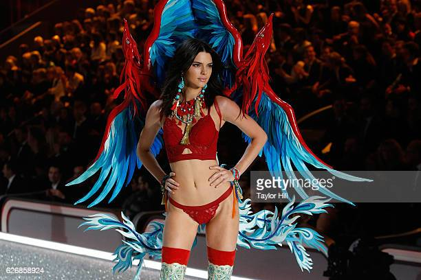 Kendall Jenner walks the runway during the 2016 Victoria's Secret Fashion Show at Le Grand Palais on November 30 2016 in Paris France