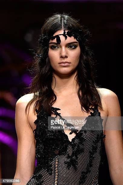 Kendall Jenner walks the runway during the Atelier Versace show as part of Paris Fashion Week Haute Couture Fall/Winter 2015/2016 on July 5 2015 in...