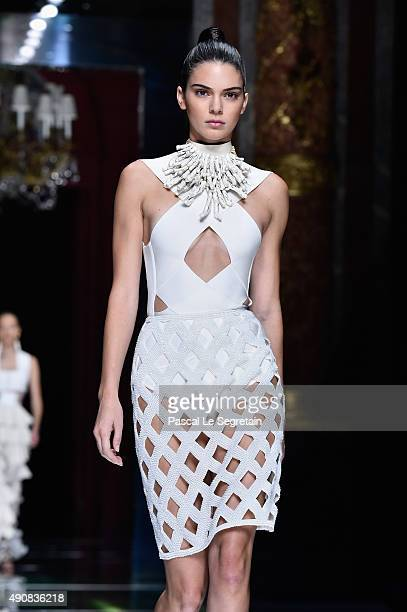 Kendall Jenner walks the runway during the Balmain show as part of the Paris Fashion Week Womenswear Spring/Summer 2016 on October 1 2015 in Paris...