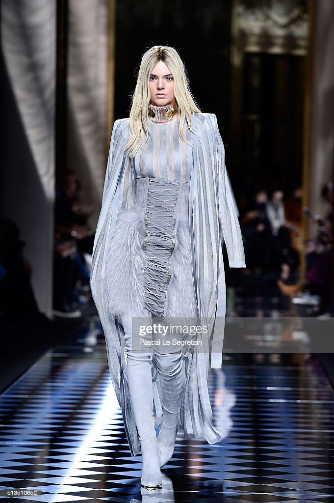 Kendall Jenner walks the runway during the Balmain show as part of the Paris Fashion Week Womenswear Fall/Winter 2016/2017 on March 3 2016 in Paris...
