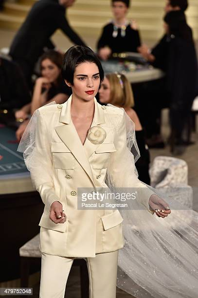 Kendall Jenner walks the runway during the Chanel show as part of Paris Fashion Week Haute Couture Fall/Winter 2015/2016 on July 7 2015 in Paris...