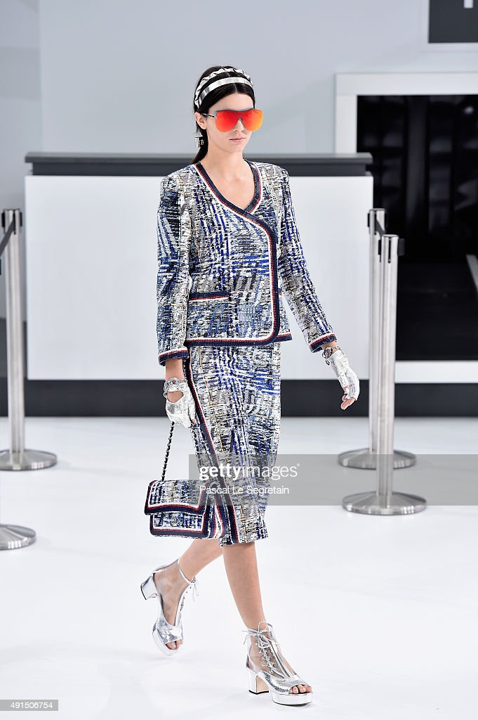 Kendall Jenner walks the runway during the Chanel show as part of the Paris Fashion Week Womenswear Spring/Summer 2016 on October 6 2015 in Paris...