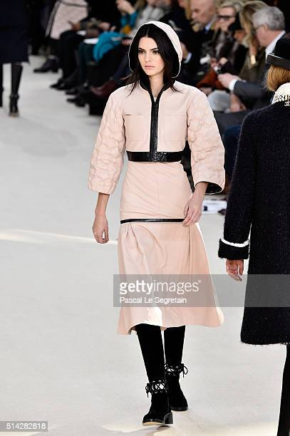 Kendall Jenner walks the runway during the Chanel show as part of the Paris Fashion Week Womenswear Fall/Winter 2016/2017 on March 8 2016 in Paris...