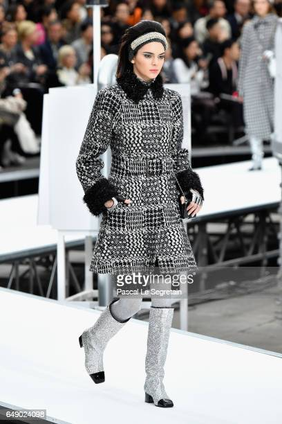 Kendall Jenner walks the runway during the Chanel show as part of the Paris Fashion Week Womenswear Fall/Winter 2017/2018 on March 7 2017 in Paris...