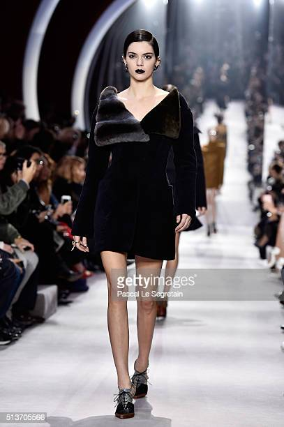 Kendall Jenner walks the runway during the Christian Dior show as part of the Paris Fashion Week Womenswear Fall/Winter 2016/2017 on March 4 2016 in...