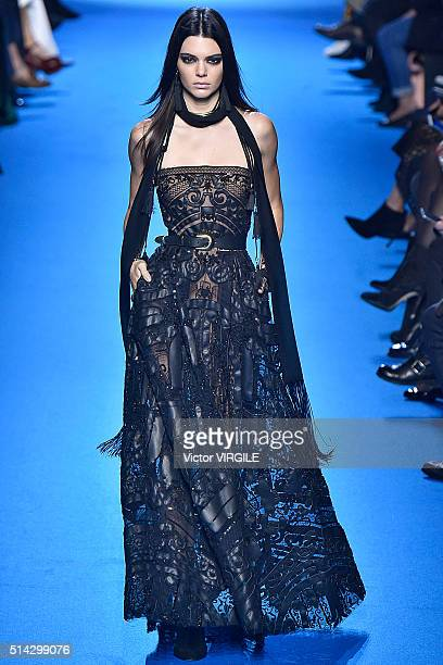 Kendall Jenner walks the runway during the Elie Saab fashion show as part of the Paris Fashion Week Womenswear Fall/Winter 2016/2017 on March 5 2016...