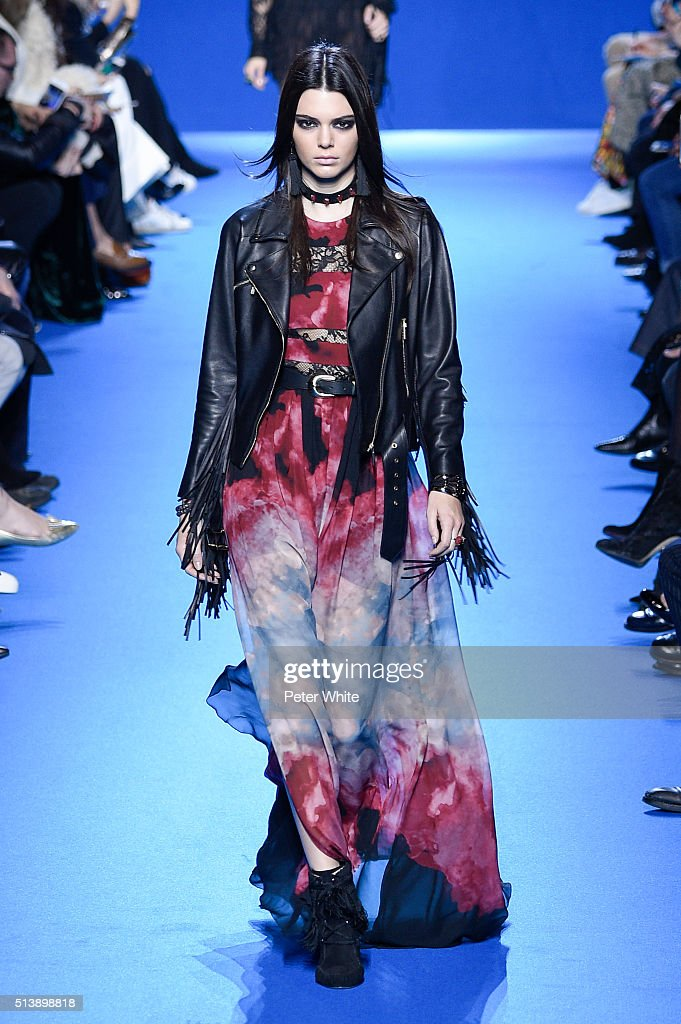 Kendall Jenner walks the runway during the Elie Saab show as part of the Paris Fashion Week Womenswear Fall/Winter 2016/2017 on March 5 2016 in Paris...
