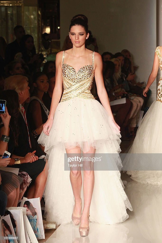<a gi-track='captionPersonalityLinkClicked' href=/galleries/search?phrase=Kendall+Jenner&family=editorial&specificpeople=2786662 ng-click='$event.stopPropagation()'>Kendall Jenner</a> walks the runway during the Evening Sherri Hill spring 2013 fashion show during Mercedes-Benz Fashion Week at Trump Tower Grand Corridor on September 7, 2012 in New York City.
