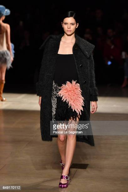Kendall Jenner walks the runway during the Miu Miu show as part of the Paris Fashion Week Womenswear Fall/Winter 2017/2018 on March 7 2017 in Paris...
