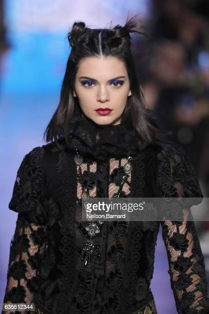 Kendall Jenner walks the runway for the Anna Sui collection during New York Fashion Week The Shows at Gallery 1 Skylight Clarkson Sq on February 15...