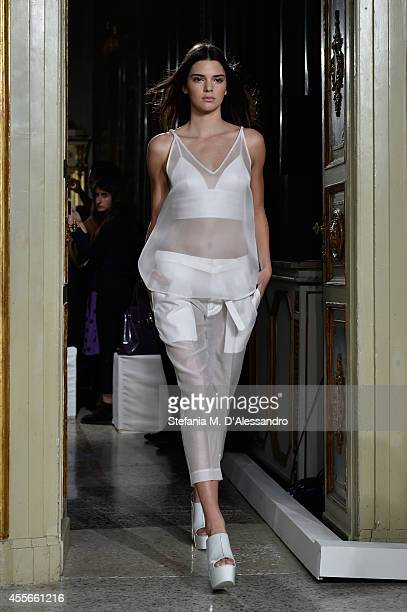Kendall Jenner walks the runwaz during the Ports1961 show as a part of Milan Fashion Week Womenswear Spring/Summer 2015 on September 18 2014 in Milan...