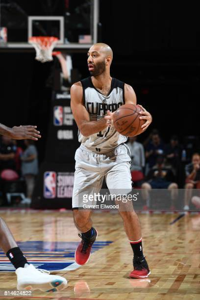 Kendall Marshall of the LA Clippers handles the ball against the Golden State Warriors on July 14 2017 at the Thomas Mack Center in Las Vegas Nevada...