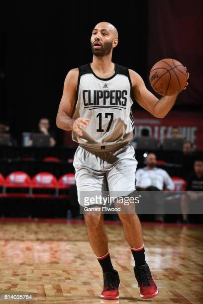 Kendall Marshall of the LA Clippers handles the ball against the Miami Heat on July 13 2017 at the Thomas Mack Center in Las Vegas Nevada NOTE TO...