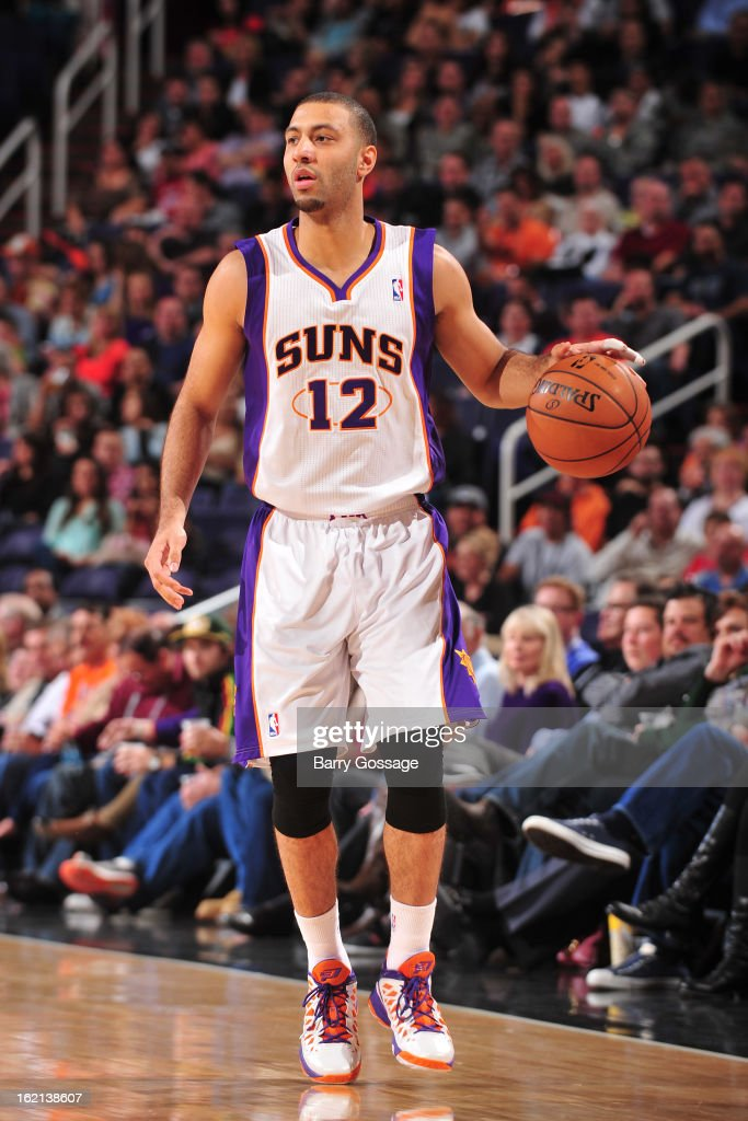 <a gi-track='captionPersonalityLinkClicked' href=/galleries/search?phrase=Kendall+Marshall&family=editorial&specificpeople=6783056 ng-click='$event.stopPropagation()'>Kendall Marshall</a> #12 of the Phoenix Suns brings the ball up court against the Dallas Mavericks on February 1, 2013 at U.S. Airways Center in Phoenix, Arizona.