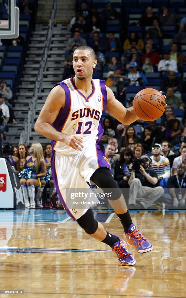 Kendall Marshall #12 of the Phoenix Suns drives against the New Orleans Hornets on February 06, 2013 at the New Orleans Arena in New Orleans, Louisiana.