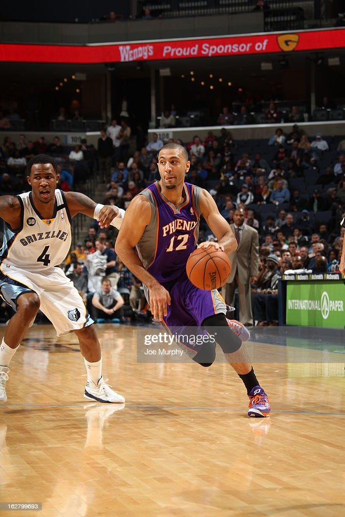 <a gi-track='captionPersonalityLinkClicked' href=/galleries/search?phrase=Kendall+Marshall&family=editorial&specificpeople=6783056 ng-click='$event.stopPropagation()'>Kendall Marshall</a> #12 of the Phoenix Suns drives to the basket against the Memphis Grizzlies on February 5, 2013 at FedExForum in Memphis, Tennessee.