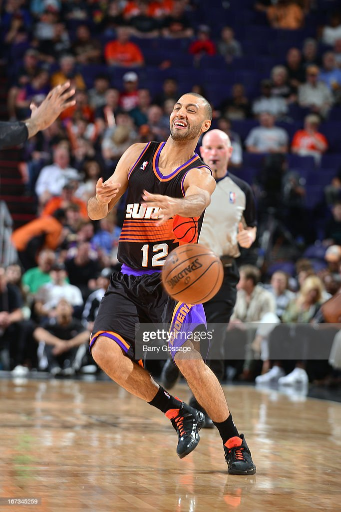 <a gi-track='captionPersonalityLinkClicked' href=/galleries/search?phrase=Kendall+Marshall&family=editorial&specificpeople=6783056 ng-click='$event.stopPropagation()'>Kendall Marshall</a> #12 of the Phoenix Suns passes the ball against the Brooklyn Nets on March 24, 2013 at U.S. Airways Center in Phoenix, Arizona.