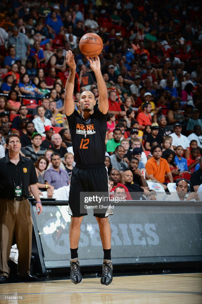 Kendall Marshall #12 of the Phoenix Suns shoots a three pointer against the Golden State Warriors during NBA Summer League Championship Game on July 22, 2013 at the Cox Pavilion in Las Vegas, Nevada.