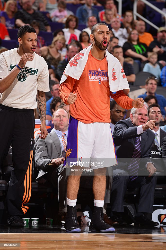 <a gi-track='captionPersonalityLinkClicked' href=/galleries/search?phrase=Kendall+Marshall&family=editorial&specificpeople=6783056 ng-click='$event.stopPropagation()'>Kendall Marshall</a> #12 of the Phoenix Suns yells from the bench against the New Orleans Hornets on April 7, 2013 at U.S. Airways Center in Phoenix, Arizona.