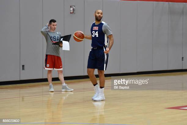 Kendall Marshall of the USA AmeriCup Team dribbles the ball during a training camp at the University of Houston in Houston Texas on August 17 2017...