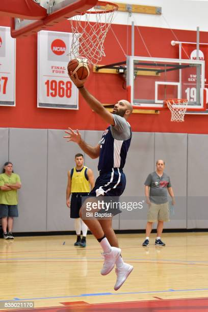 Kendall Marshall of the USA AmeriCup Team drives to the basket during a training camp at the University of Houston in Houston Texas on August 17 2017...