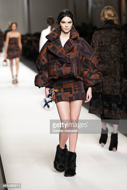 Kendall Nicole Jenner walks the runway at the Fendi show during the Milan Fashion Week Autumn/Winter 2015 on February 26 2015 in Milan Italy