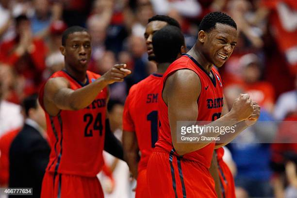 Kendall Pollard of the Dayton Flyers reacts against the Boise State Broncos during the first round of the 2015 NCAA Men's Basketball Tournament at UD...