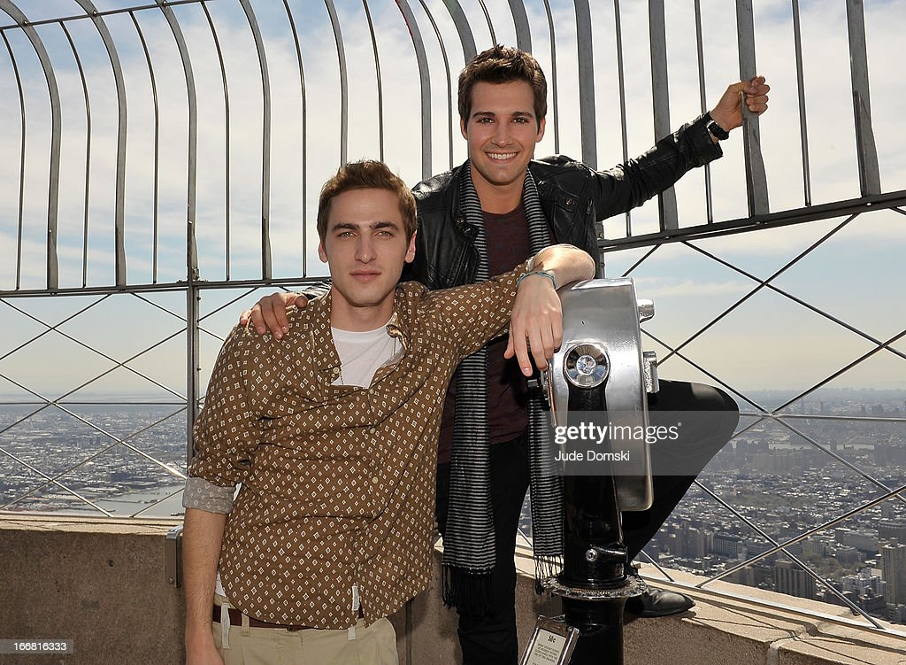 <a gi-track='captionPersonalityLinkClicked' href=/galleries/search?phrase=Kendall+Schmidt&family=editorial&specificpeople=6326531 ng-click='$event.stopPropagation()'>Kendall Schmidt</a> and <a gi-track='captionPersonalityLinkClicked' href=/galleries/search?phrase=James+Maslow&family=editorial&specificpeople=6522849 ng-click='$event.stopPropagation()'>James Maslow</a>, from the American boy band Big Time Rush, visit The Empire State Building on April 17, 2013 in New York City.