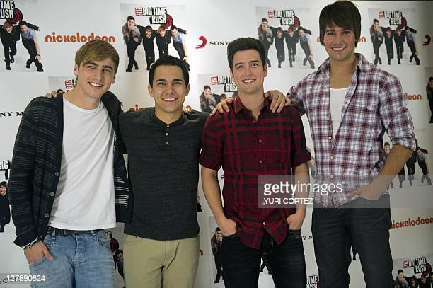 Kendall Schmidt Carlos Pena Logan Herderson and James Maslow members of the US Big Time Rush group pose during a photo opportunity in Mexico City on...
