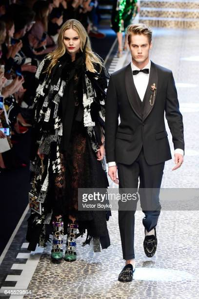 Kendall Visser and Neels Visser walk the runway at the Dolce Gabbana show during Milan Fashion Week Fall/Winter 2017/18 on February 26 2017 in Milan...