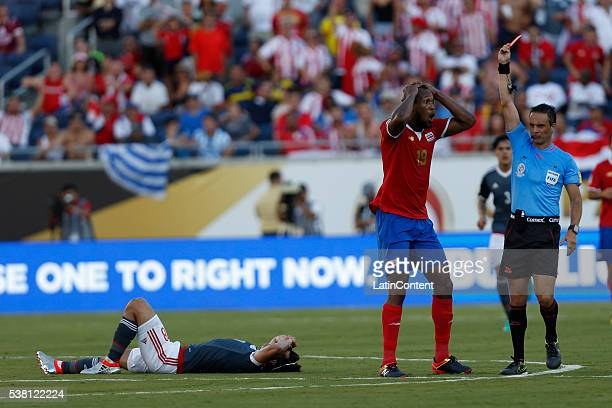 Kendall Watson of Costa Rica reacts after getting a red card during a group A match between Costa Rica and Paraguay at Camping World Stadium l as...